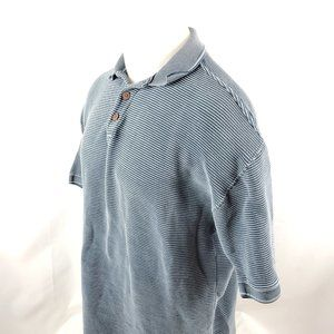 Tommy Bahama Men Polo Shirt Medium S/S Blue Silk